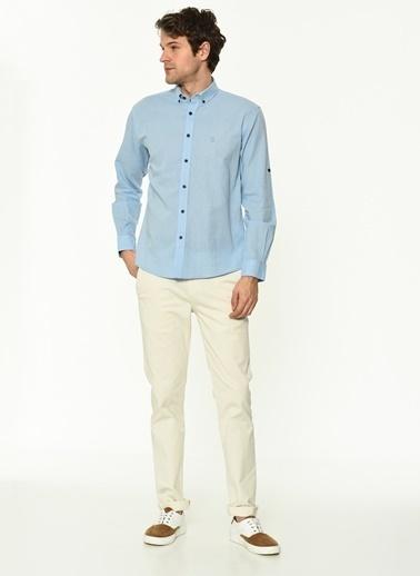 George Hogg George Hogg Düğmeli Yaka Uzun Kollu Regular Fit Erkek Gömlek Mavi